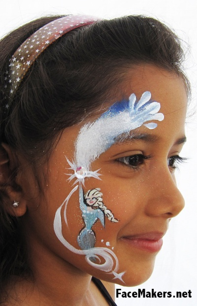 Frozen face paint Elsa